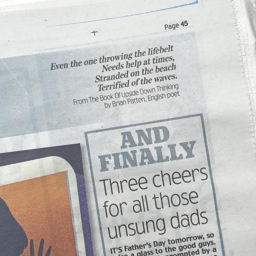 Waves by Brain Patten from The Book Of Upside Down Thinking in the Daily Mail